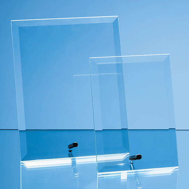 23cm x 18cm Bevelled Glass Rectangle with Chrome Pin