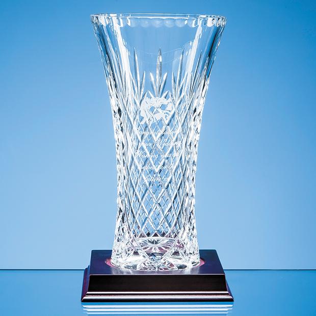 25.5cm Lead Crystal Panelled Flared Vase