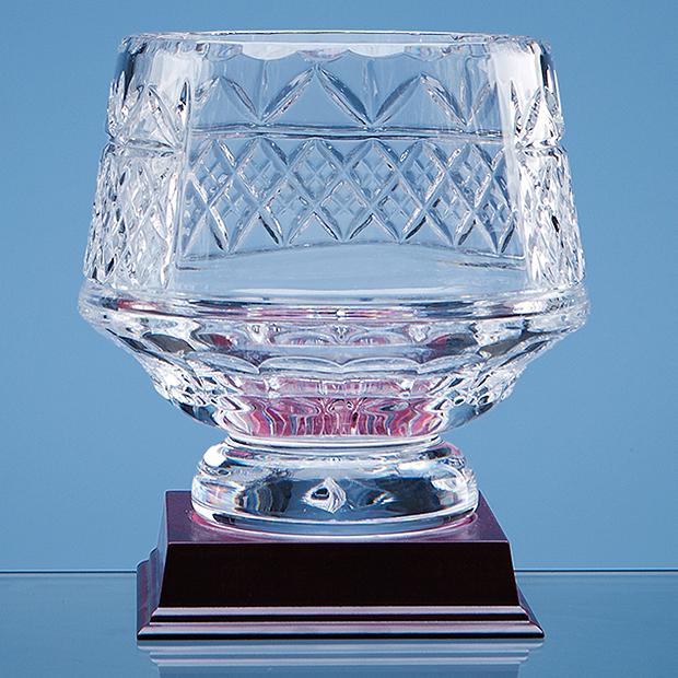 15cm Lead Crystal Panelled Heeled Bowl