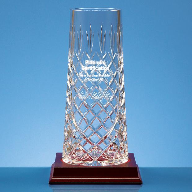 25cm Lead Crystal Tapered Panel Vase