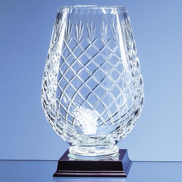 25cm Lead Crystal Panelled Tulip Vase