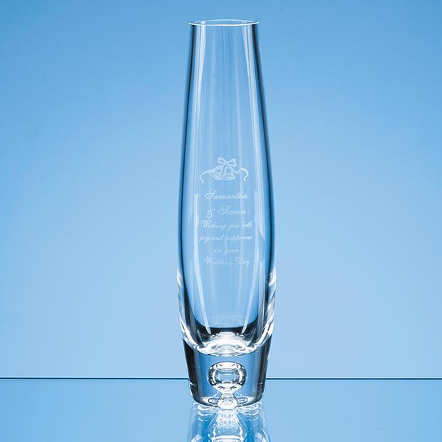 24cm Handmade Tall Bubble Base Oval Vase