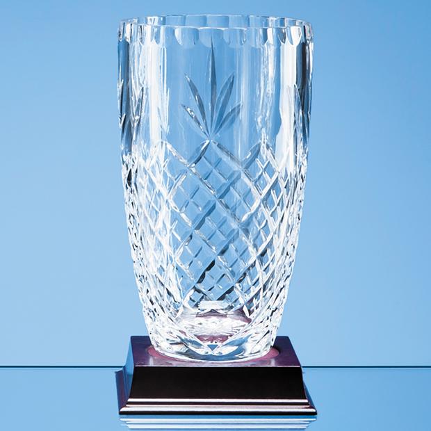 23cm Lead Crystal Panelled Barrel Vase