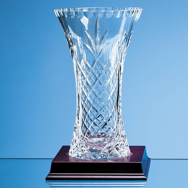 23cm Lead Crystal Panelled Flared Vase