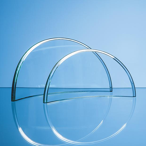15cm x 28.5cm x 1cm Jade Glass Half Moon Crescent