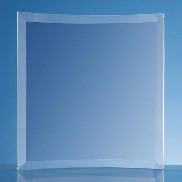 22.5cm x 20.5cm x 5mm Jade Glass Bevelled Crescent