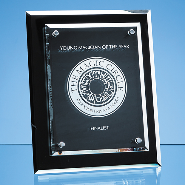 25cm x 20cm Onyx Black Desk Plaque with Mounted Clear Rectangle, H or V