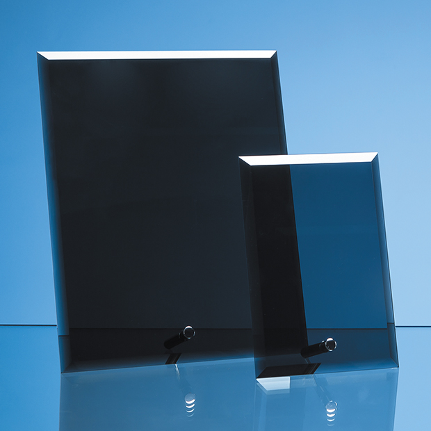 23cm x 18cm Smoked Black Glass Rectangle with Chrome Pin