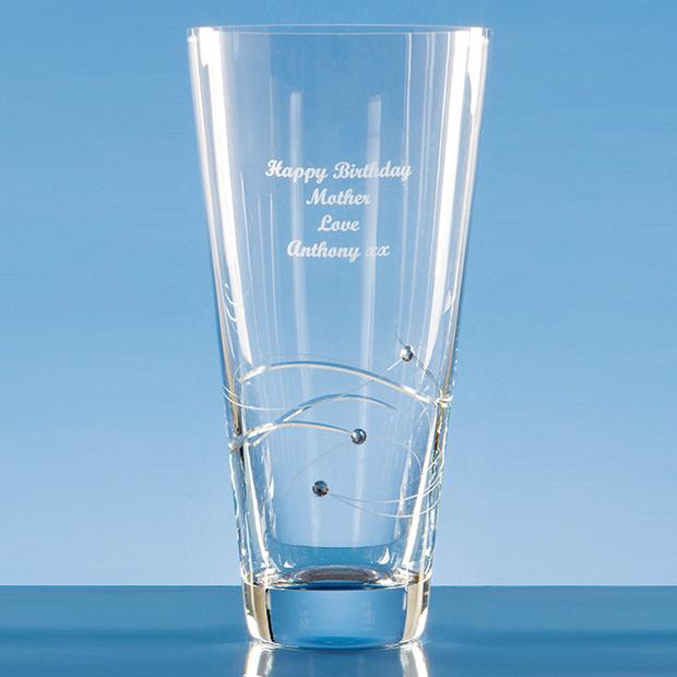 25cm Diamante Conical Vase with Spiral Design Cutting