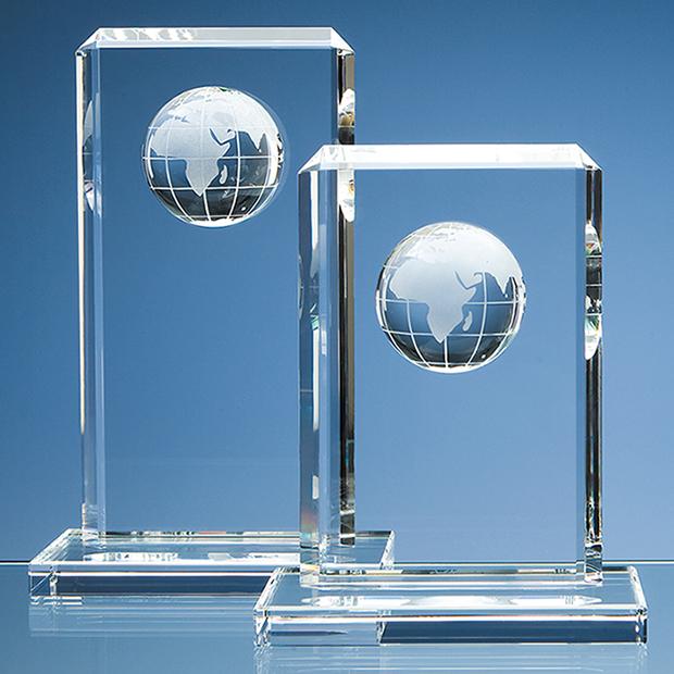19cm Optical Crystal Globe Rectangle Award