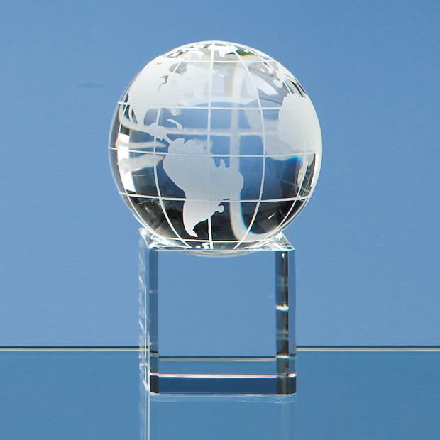 6cm Optical Crystal Globe on Clear Base
