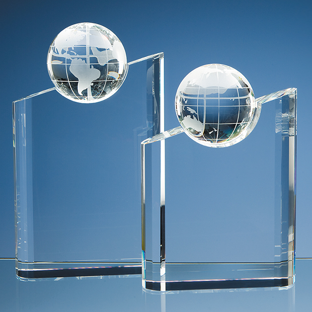 25.5cm Optical Crystal Globe Mountain Award