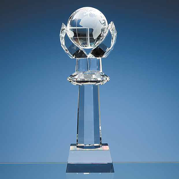 31cm Optical Crystal Mounted Globe Column Award