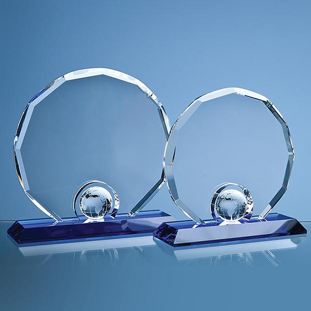 20cm Optical Crystal Decagon with Globe on Blue Base