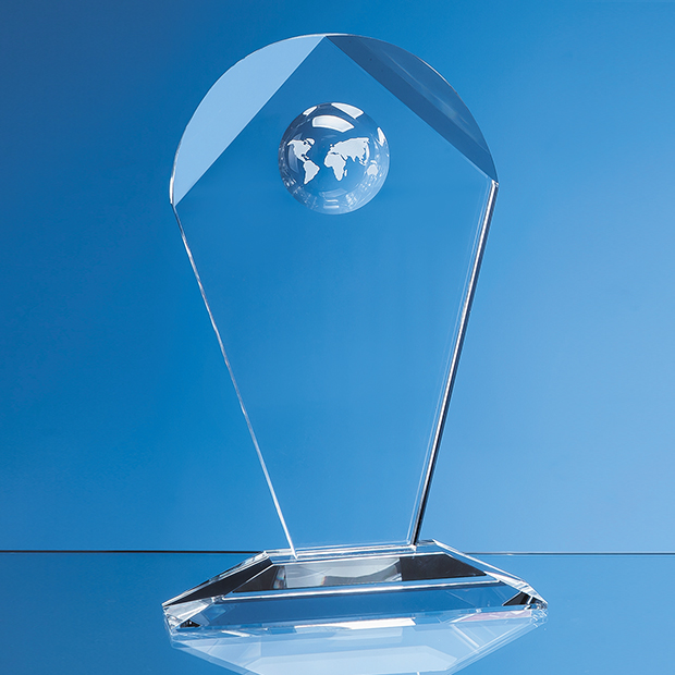 22cm Optical Crystal Arch Award with Recessed Globe