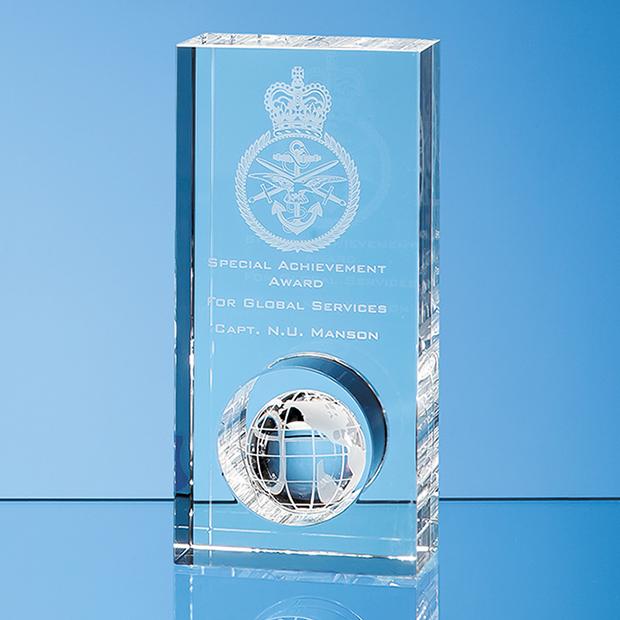 17cm Optical Crystal Globe in the Hole Award