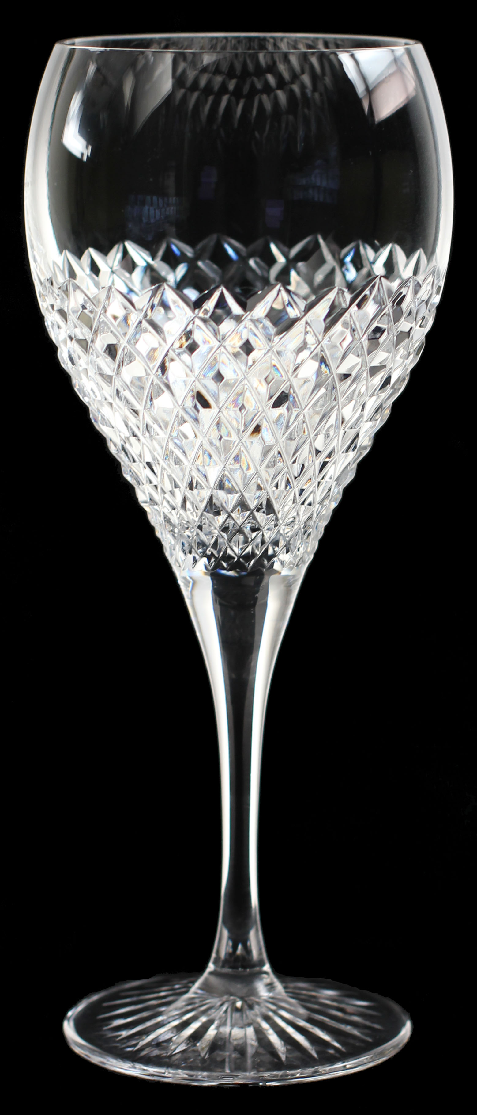 Kinver Ice Diamond hand made crystal Large wine glass