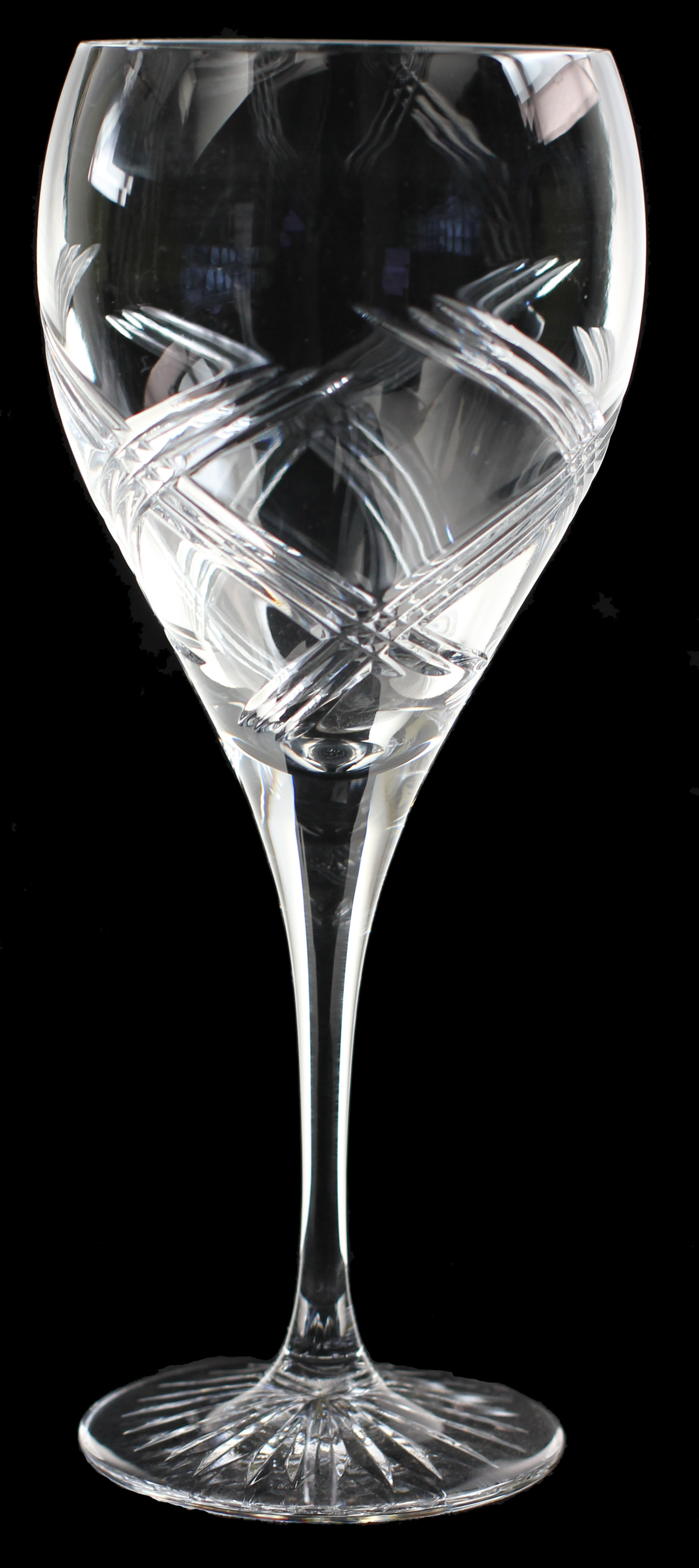 Elegant Large wine glass, hand cut crystal in celebration cut.